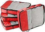 AmazonBasics 4-Piece Packing Cube Set - Large, Red