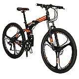 EUROBIKE G7 Mountain Bike 21 Speed 27.5 Inches Wheel Dual Suspension Folding Bike Dual Disc Brake MTB Bicycle