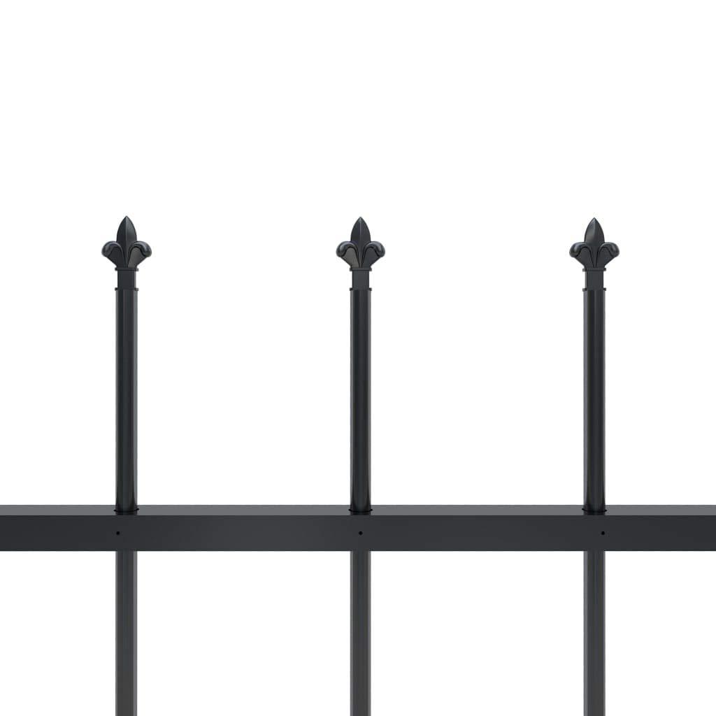 vidaXL Gartenzaun mit dekorativen Speerspitzen Schmuckzaun Metallzaun Zaun Zaunelemente Stahlzaun Gitterzaun Zaunfeld Tor Stahl 1,7x1,5m Schwarz