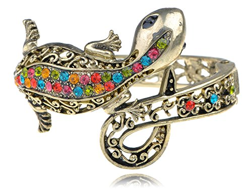 Alilang Multi-Colored Crystal Rhinestone Lizard Gecko Salamander Bracelet Bangle Cuff Multi Colored Rhinestone Bracelet