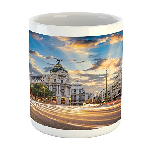 Lunarable European Mug, View of The Streets Modern Madrid with Sky Landscape Big Old Ancient Town Heritage, Printed Ceramic Coffee Mug Water Tea Drinks Cup, - Real Madrid Ceramic