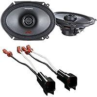 Alpine R-Series 6 x 8 Inch 300 Watt Component 2-Way Car Speakers W/ Metra 72-5600 Ford Speaker Harness 1998-UP