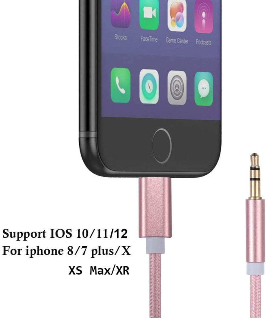 3 in 1 Nylon Braided ligtning to Aux Cord Adapter Compatible with iPhone Xs Max XR X 8 7 6 5 to Car//Home Stereo//Speaker//Headphone Rose Gold, 1-Pack Audio Jack Adapter 3.5mm Auxiliary Cable