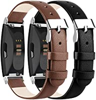 Vancle Leather Bands Compatible with Fitbit Inspire HR Band/Fitbit Inspire Band/Ace 2, Classic Genuine Leather Wristband...