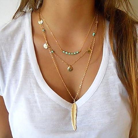 Doinshop Women Multilayer Irregular Pendant Chain Statement Necklace (Necklaces & Pendants)