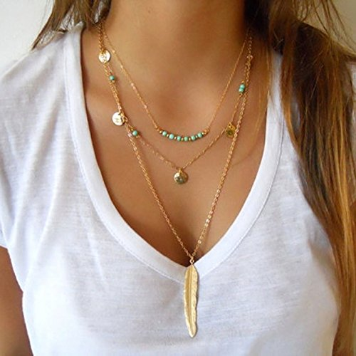 Doinshop Women Multilayer Irregular Pendant Chain Statement Necklace