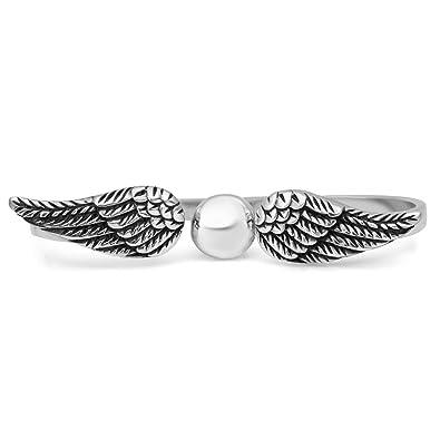d0f31526edd78 Amazon.com: 925 Oxidized Sterling Silver Angel Wings Double Two ...