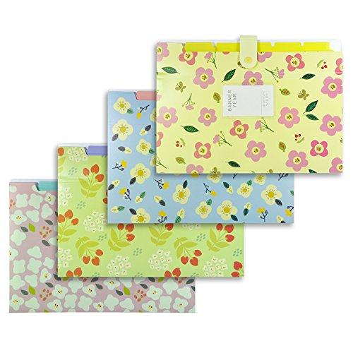 Littfun Floral Document Folder Office Business 6-Pocket Expanding File Document,Elegant Floral A4 Paper Bags,Pack of - 6 Pockets File