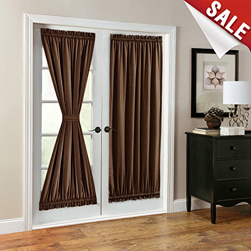 French Door Curtains Linen Look Blackout Curtains 72 inch Lo