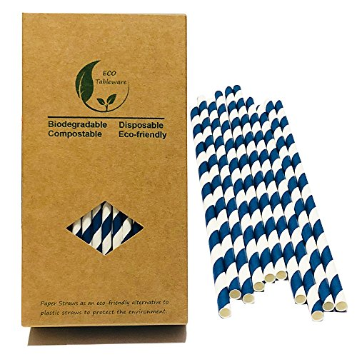 (Navy Blue Disposal Paper Straw, Enviroment White Swirl Striped Drinking Straws, Aegean Blue 7.75inch for Normal Size Drinking)