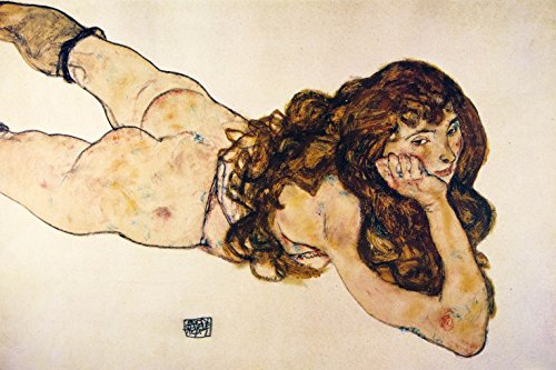 Egon Schiele Poster Adhesive Photo Wall-Print - Female Nude Lying On Her Stomach, 1917 (71 x 47 inches)