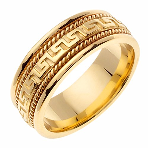 14K Yellow Gold 8mm Greek Key & Rope Design Wedding Band Promise Ring Comfort Fit 14k Yellow Key Ring