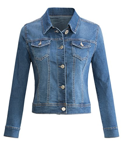 URBAN K WOMENS Long-Sleeve Button Up Denim Jean Jacket,UBK710_Medium,Small Button Denim Jacket