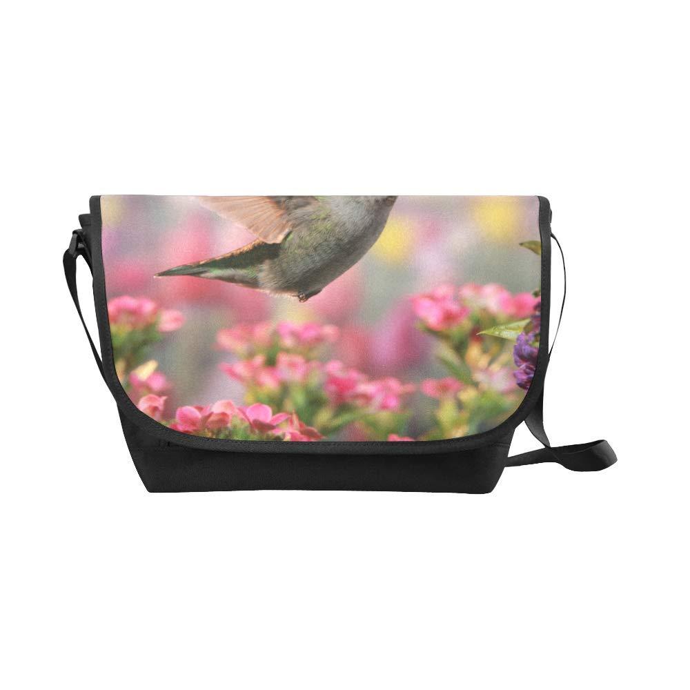 Black InterestPrint Vintage Hummingbird Mens Womens Messenger Bag Crossbody Shoulder Bags for School Traveling