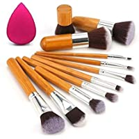 Kylie Foundation Brush Make Up Brushes - 11pcs Natural Bamboo Professional Makeup Brushes Set Foundation Blending Brush Tool Cosmetic Kits Makeup Set Brusher - Makeup Brushes +Puff