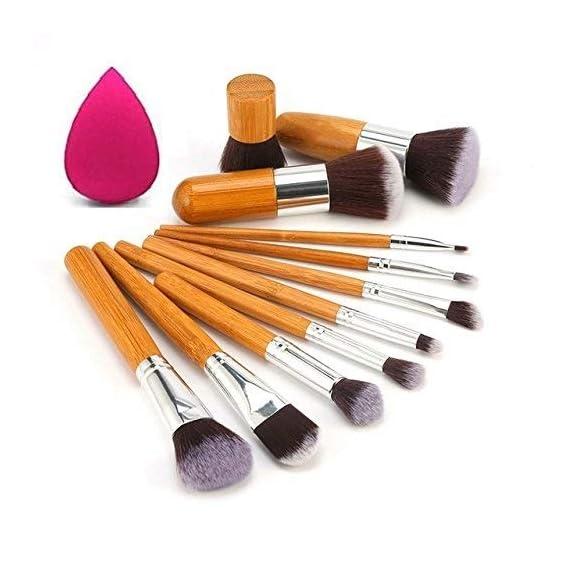 Kylie Foundation Brush Make Up Brushes - 11pcs Natural Bamboo Professional Makeup Brushes Set Foundation Blending Brush