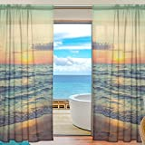 Ocean Golden Sunset Beach Sheer Curtain for Living Room Bedroom,55 x 84 Inches Long,Blue,Window Treatments,Rod Pocket,Polyester Fabric,Set of 2 Panels For Sale