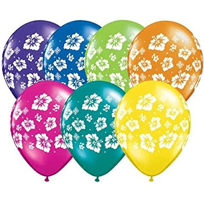 """11"""" Tropical Hibiscus Flowers Around Balloons (10 per Package): Toys & Games"""