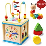 LuaLua Baby Toys for 1 Year Old Educational Wooden Bead Maze Shape Sorter Activity Cube Gifts for Boy And Girl Toddlers (5) (18)