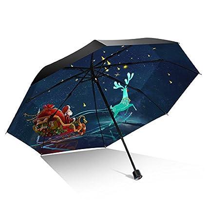 Paraguas plegable automatico Mujer niño Hombre an- Paraguas de Doble Uso de Navidad con Protector
