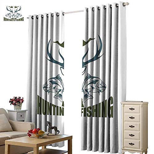 Warm Family Hunting Decor Bedroom Balcony Living Room Curtain Artistic Emblem Moose Head Horns Trout Salmon Sea Fishes Noise Reducing W96 x L108 Olive Green Slate Blue White
