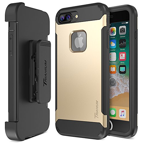 Trianium iPhone 8 Plus Case [Duranium Series] Rugged Holster Heavy Duty Protective Cover w/ Built-in Screen Protector for Apple iPhone 8 Plus Phone Belt Clip Kickstand [Full Body Protection]- Gold