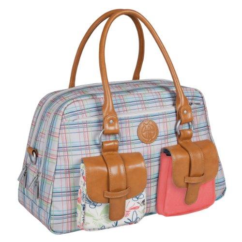 Lassig Vintage Metro Style Diaper Shoulder Bag Handbag Tote-Bag includes Matching Insulated Bottle Holder, wipeable Changing Mat, Stroller Hooks, Candy-Striped
