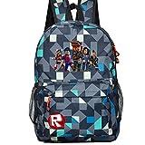 Kids Schoolbag Backpack with Roblox Students Bookbag Handbags Travelbag (ling ge blue)