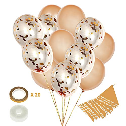 Styleabration 20 Big Gold Balloons, Gold Confetti Balloons 18 Inch Plus Ribbons and Banner - 42 Piece