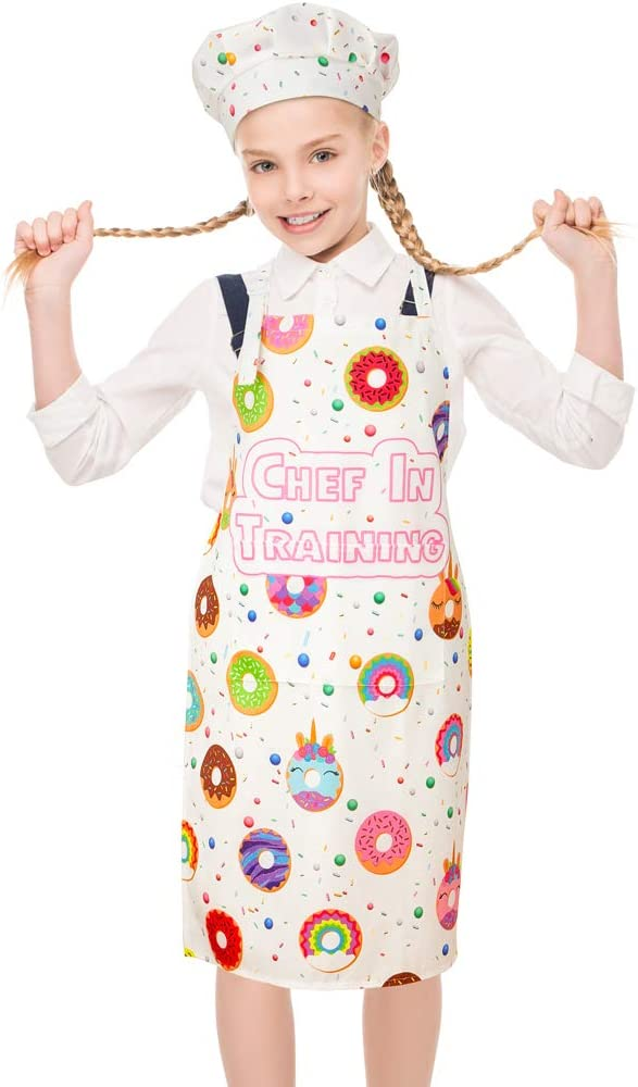 ZukoCert 5-10Years Children Aprons For Girls Boy Unicorn/&Dinosaur Kids Art Aprons Kids Smocks For Cooking,Baking,Painting