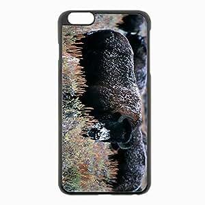 iPhone 6 Plus Black Hardshell Case 5.5inch - bison horns snow Desin Images Protector Back Cover