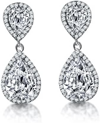 AMYJANE Zircon Austrian Crystal Wedding Jewelry Pierced Dangle Silver Tone Earrings for Bridal Bridesmaid