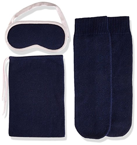 Orchid Cashmere - Sofia Cashmere Women's Cashmere Travel Set-Eyemask and Socks, Navy ZY53372 + Orchid ZY60240, ONE
