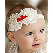 Future Tailgater Mississippi Ole Miss Rebels Baby/Toddler Shabby Flower Hair Bow Headband (Newborn - 3 months/ 13 )