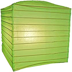 "Quasimoon PaperLanternStore.com 10"" Light Lime Square Shaped Paper Lantern"