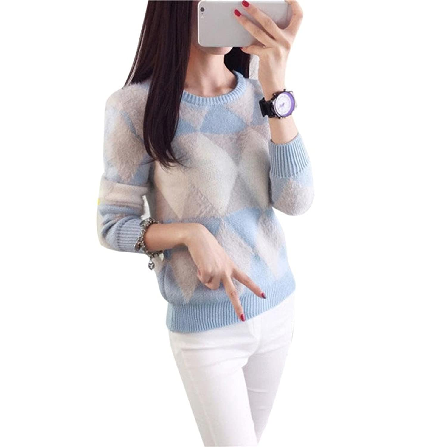 Inkach Woman Fashion Pullover Sweater Autumn Winter O-neck Long Leeve Sweater Blouse