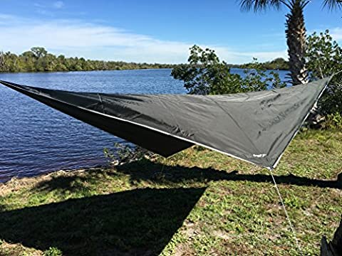 Hammock Rain Fly - Extra Strong Rain Tarp with 70D Oxford Nylon RipStop Quality - Strong Ropes and Pegs & Carrying Pouch - Protects Hammock from Sun, provides shade - by Krazy Outdoors (Dark Green)