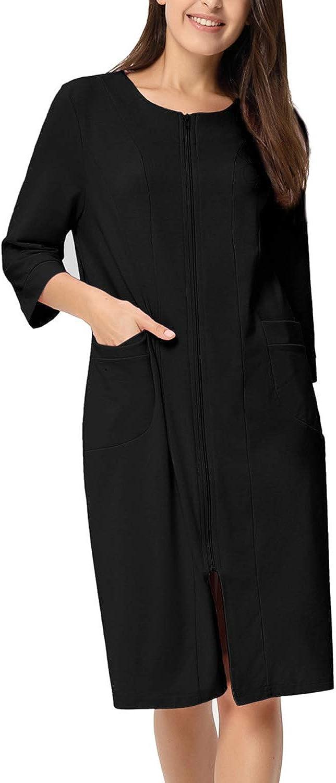 Zexxxy Donna Vestaglia Lunga Manica 3//4 Pigiama Accappatoio Lunga Pigiameria alla Moda