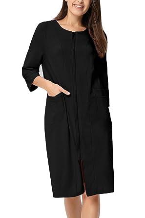 Zexxxy Women Cotton Bathrobe House Coat Dressing Gown Dress Style Half Sleeve Pyjama Sleepwear