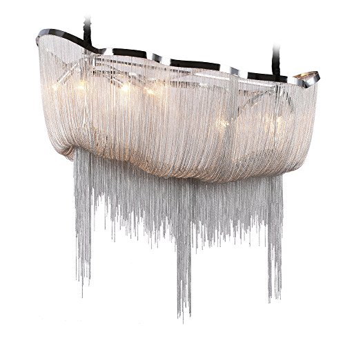 DEARLAN Chandeliers Modern Contemporary Chandelier 8 Lights Aluminum Chain Island Pendant Ceiling Lighting Fixture for Dining Room Living Room Hotel Hallway L35.4