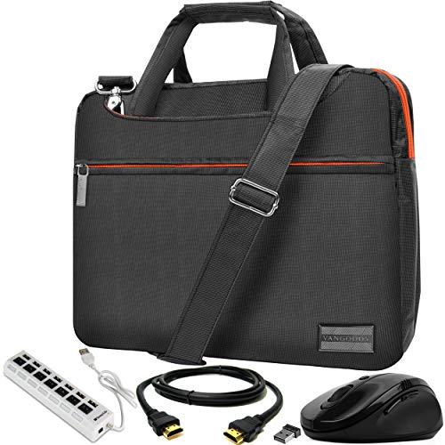 VanGoddy Slim Orange Trim Laptop Messenger Bag with USB Hub and HDMI Cable Suitable for Microsoft Surface Pro 6, Surface Laptop 1 & 2, Surface Book 13.5