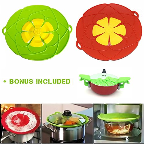 Overflow Stopper (Widras 2 Pcs Spill Stopper Lid Cover And Spill Stopper Boil Over Safeguard Silicone Pot Pan Lid Multi-Function Kitchen Tool (Green And Red) + Bonus Universal Easy Adjustment Drainer to Different Size)