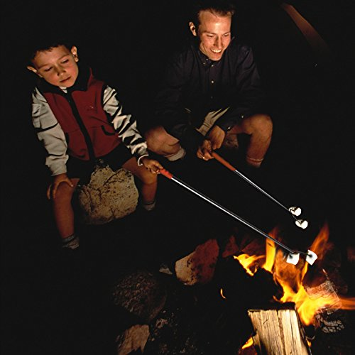 """MCIRCO Marshmallow Roasting Sticks,Set of 10 Pack 42"""" Telescoping Smores Skewers Hot Dog Extending Stainless Steel Forks for Camping, Campfire, Bonfire Kids by MCIRCO (Image #6)'"""