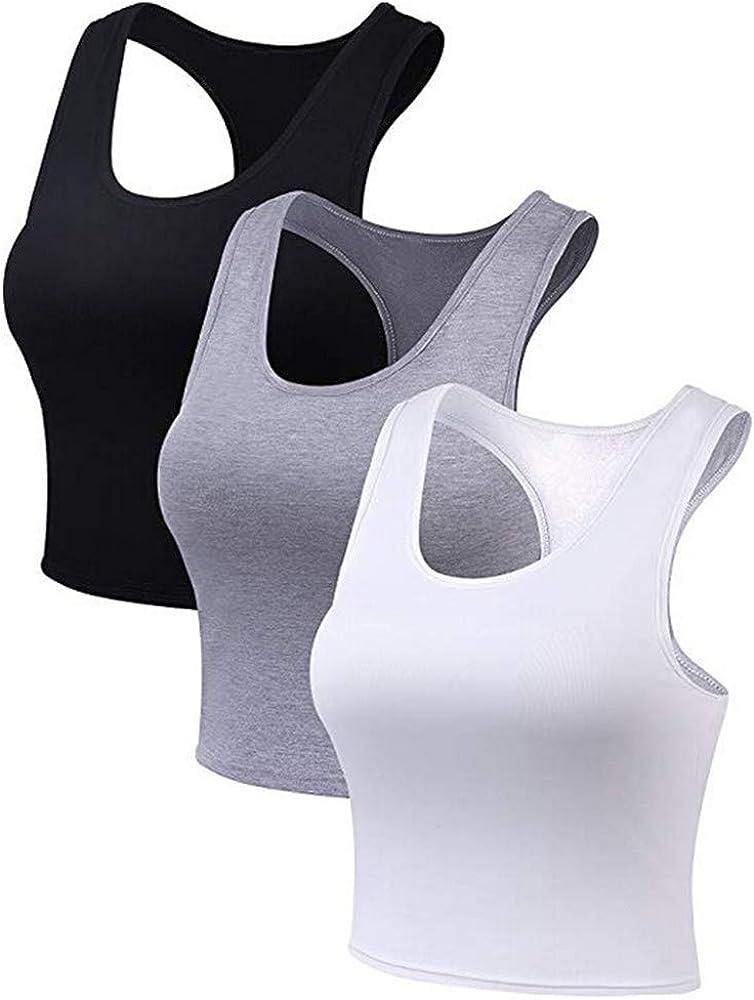Camiseta sin Mangas Deportiva Mujer 3 Piezas Camisas de algodón Gym Sports t-Shirt de Tirantes básica: Amazon.es: Ropa y accesorios