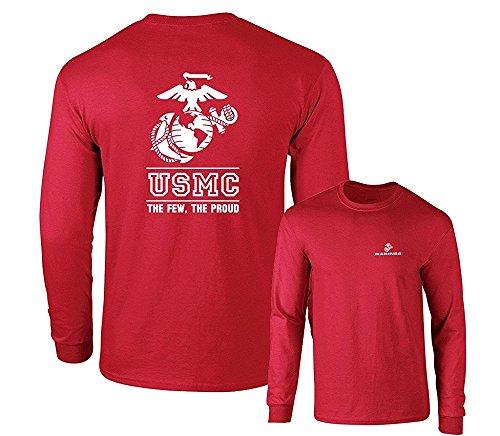 Marines USMC The Few The Proud White Emblem F&B Long Sleeve T-Shirt, Red, ()