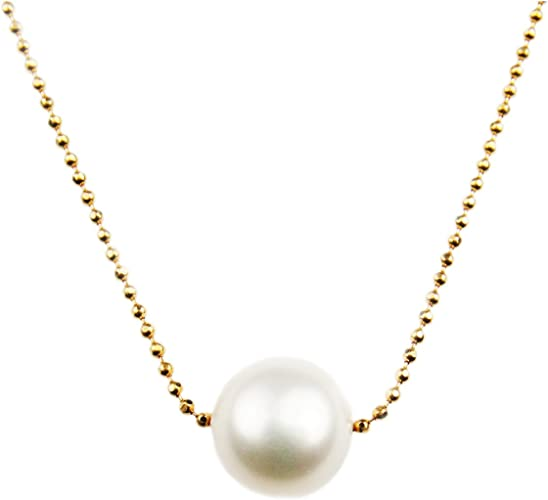 .925 Sterling Silver Floating Pearl Pendant /& Cable Necklace