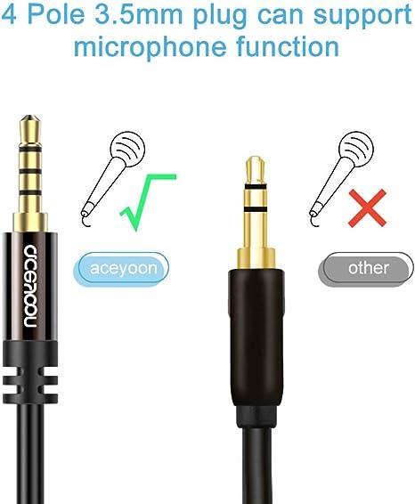 Aceyoon Aux Kabel 5m 4 Polige 3 5mm Klinkenkabel Elektronik