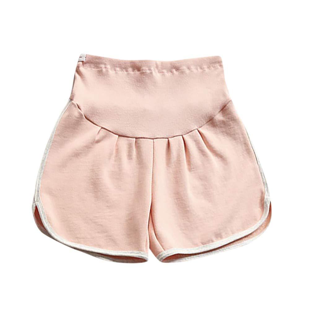 LUBITY Pantalons de Maternit/é Une Femme Enceinte Tient Un Short de Sport de Loisir L/âche en Pur Coton Short De Sport D/écontract/é Coton Ventre