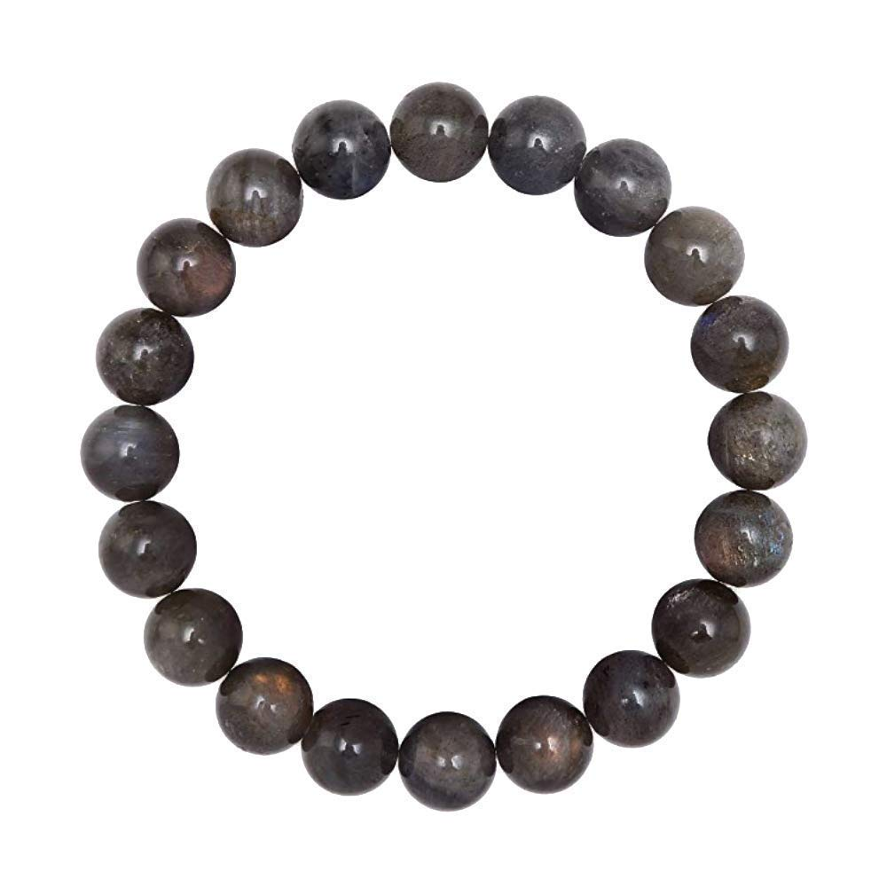 Forziani Natural Labradorite Beads Mens Bracelet Gift Box Included 10mm High Quality Genuine Gray Gemstone Beaded Adjustable Stretch Bracelet for Men Strength and Perseverance Made in USA