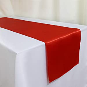 GFCC Pack of 10 Red Satin Table Runner 12 x 108 Inches for Wedding Party Events Decoration
